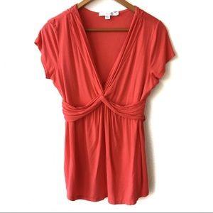 Boden Red V-Neck Blouse Draped Front Flowy Size 10